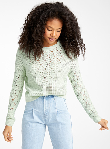 Organic cotton diamond pointelle knit sweater