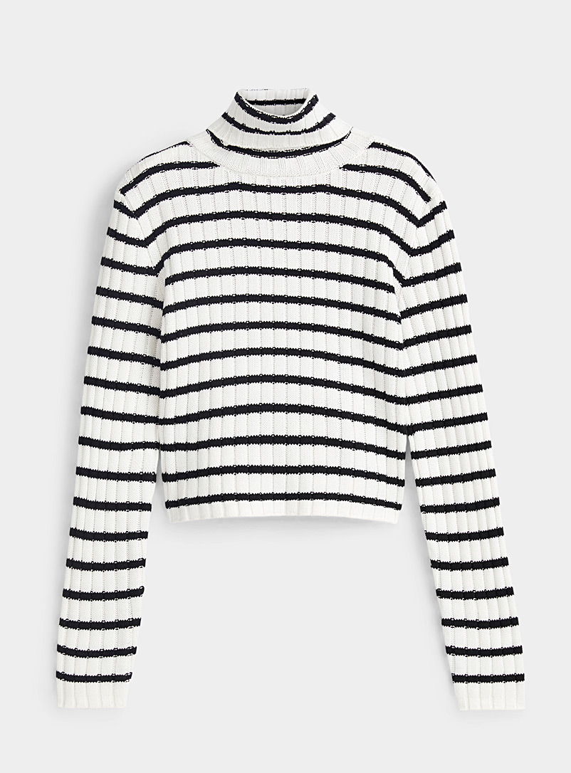 Twik Black and White Ribbed organic cotton cropped turtleneck for women