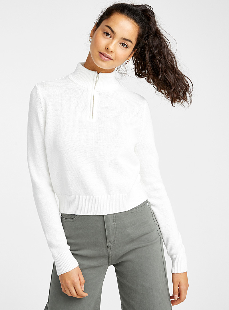 Organic cotton half-zip cropped high-neck - Sweaters - Ivory White