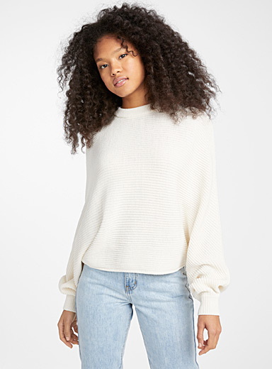 Recycled polyester batwing cropped sweater