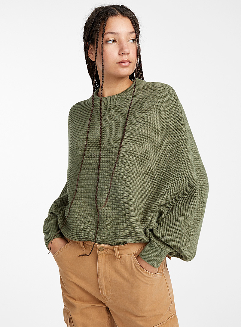 Recycled polyester batwing cropped sweater - Sweaters - Mossy Green