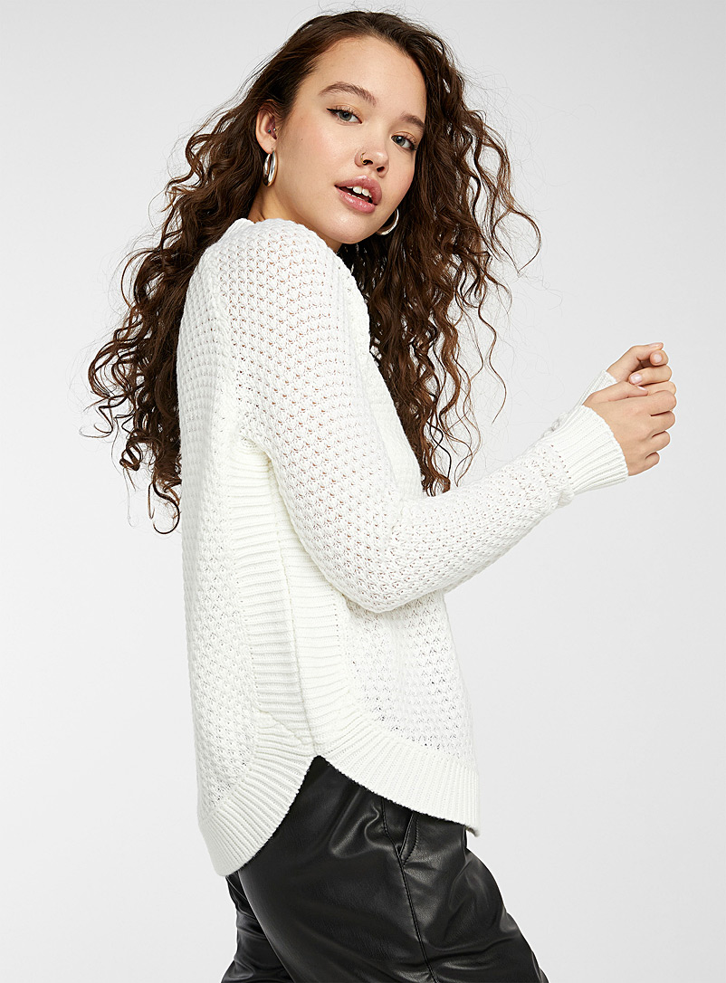 Twik White Recycled polyester diamond knit sweater for women