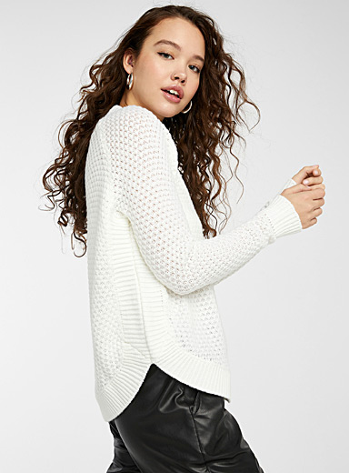 Recycled polyester diamond knit sweater