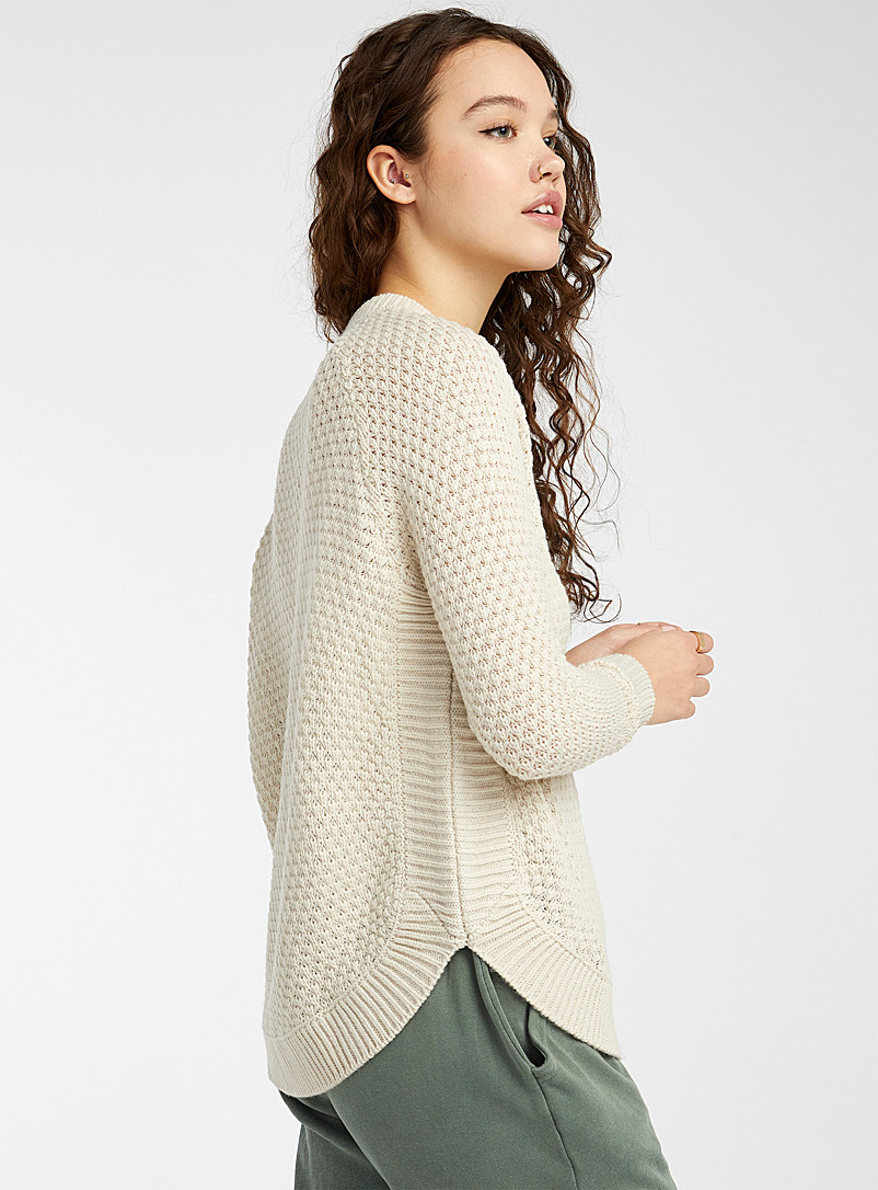 Twik Cream Beige Recycled polyester diamond knit sweater for women