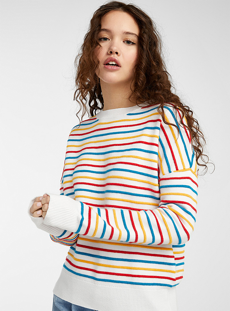 Twik Patterned White Textured stripe sweater for women