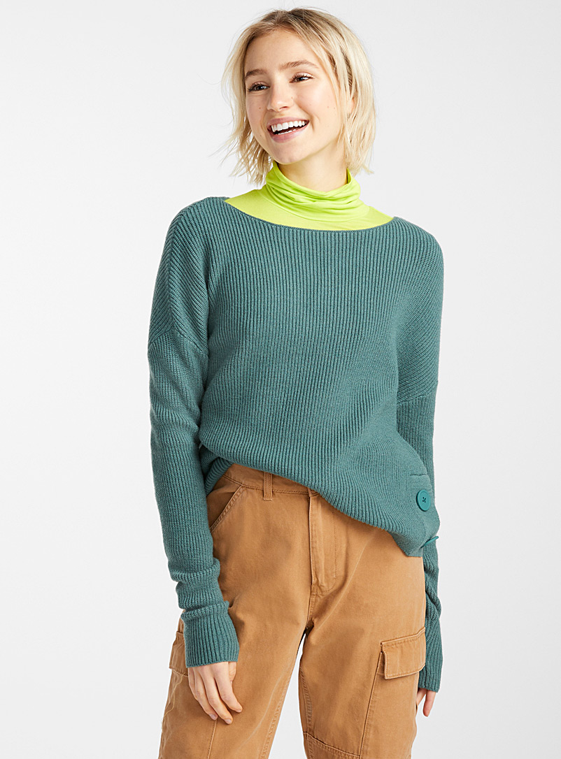Twik Green Two-button ribbed raglan blouse for women