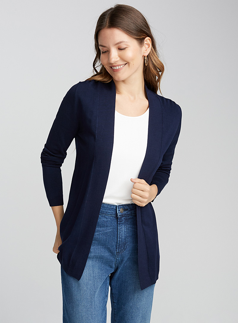 Contemporaine Marine Blue Minimalist open cardigan for women