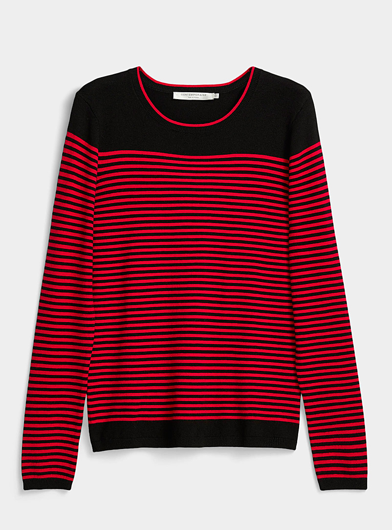 Contrasting-stripe sweater