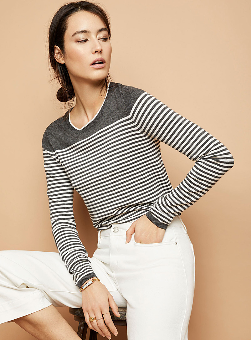 Contemporaine Oxford Contrasting-stripe sweater for women
