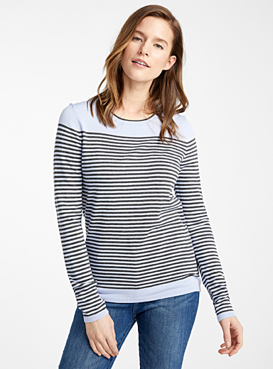Contemporaine Baby Blue Contrasting-stripe sweater for women
