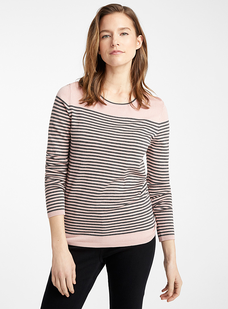 Contemporaine Pink Contrasting-stripe sweater for women
