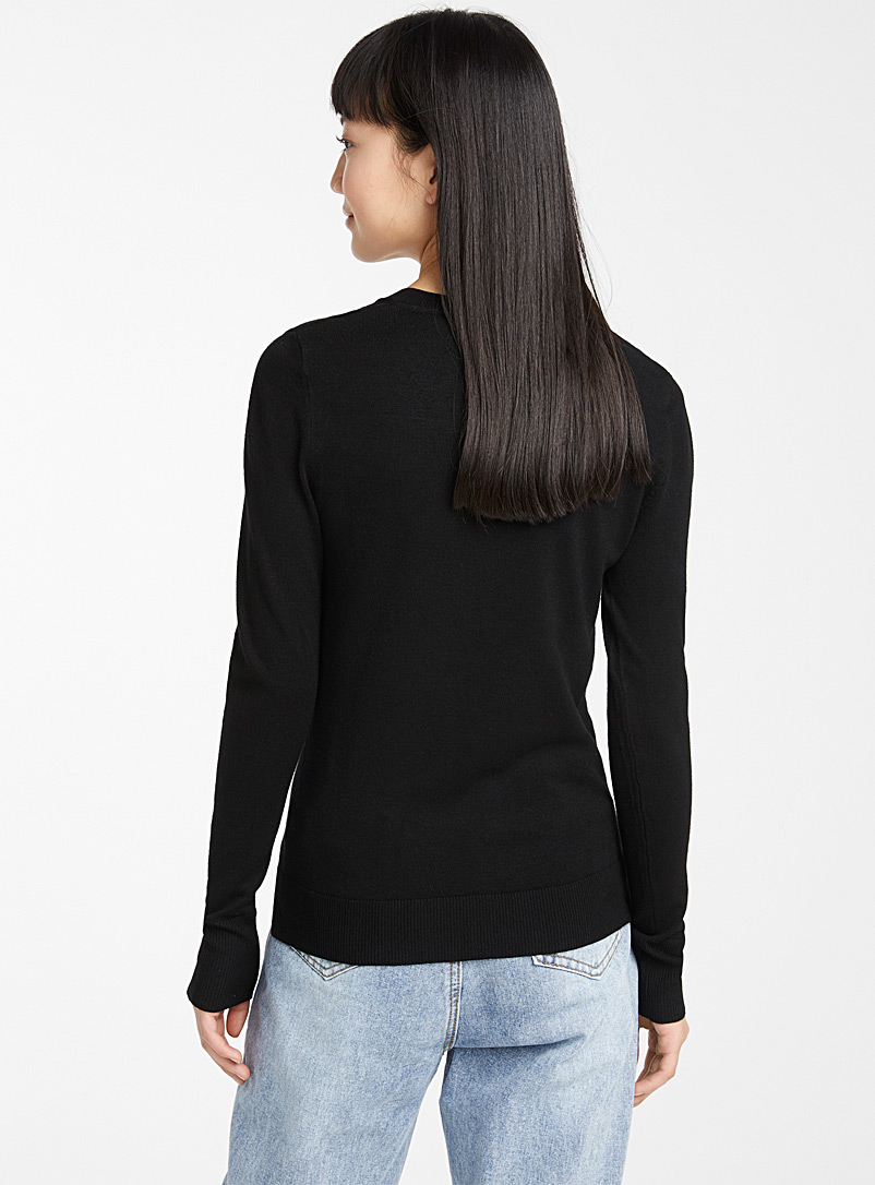 Twik Black Viscose V-neck sweater for women