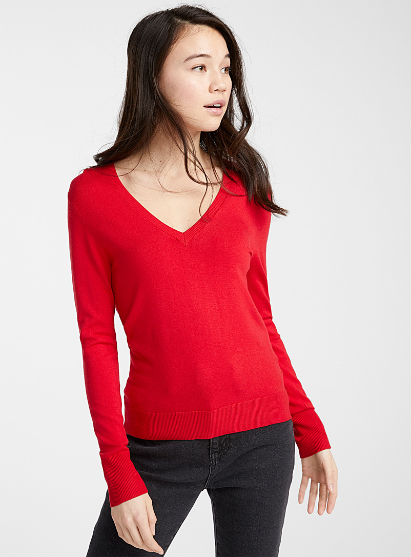 Twik Red Viscose V-neck sweater for women
