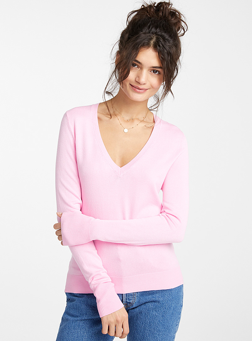 Le pull col V tricot viscose - Pulls - Rose