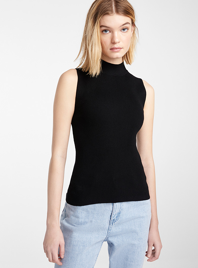 Twik Black Finely ribbed mock-neck cami for women