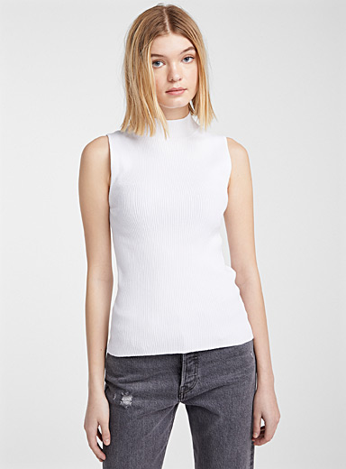 Twik White Finely ribbed mock-neck cami for women