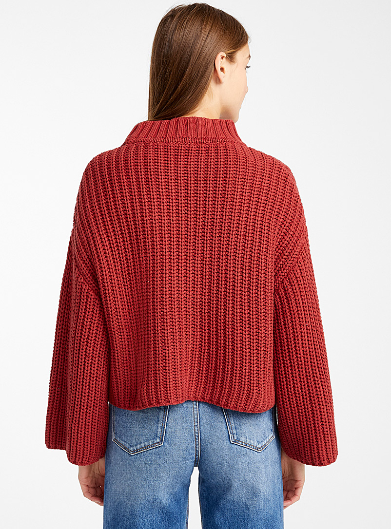 Organic cotton mini-braid sweater - Sweaters - Dark Orange