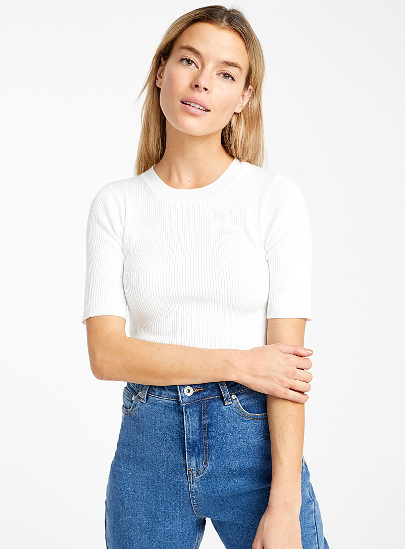 Icône Ivory White Fitted ribbed sweater for women