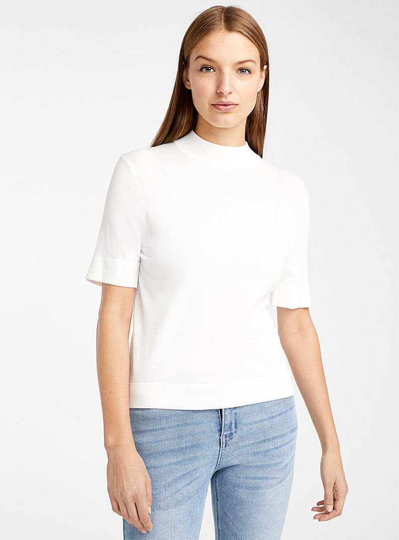 Le pull col montant demi-manches - Pulls - Ivoire blanc os