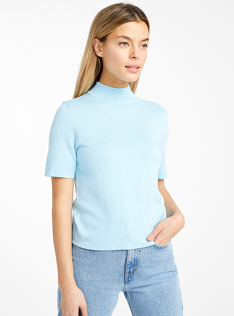 Icône Baby Blue Half-sleeve high neck sweater for women