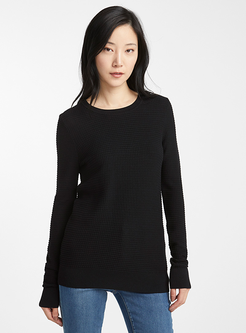 Contemporaine Black Textured knit crew-neck sweater for women
