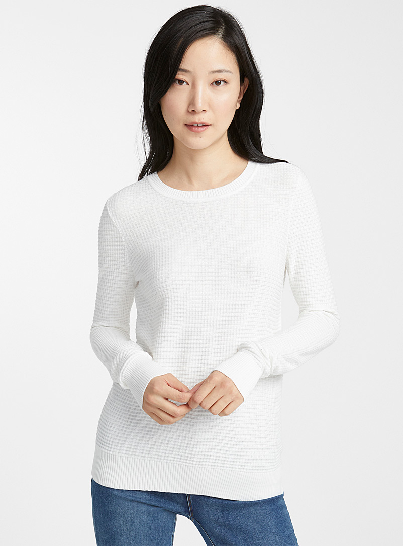 Contemporaine Ivory White Textured knit crew-neck sweater for women
