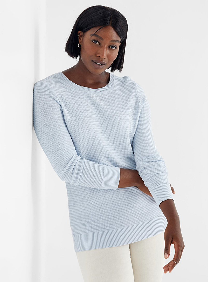 Textured knit crew-neck sweater