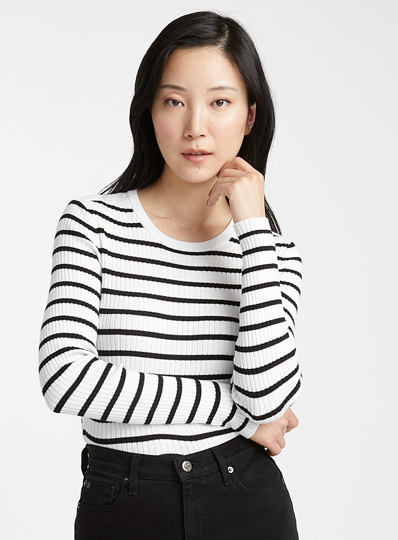 Contemporaine Ivory White Ribbed contrast stripe sweater for women