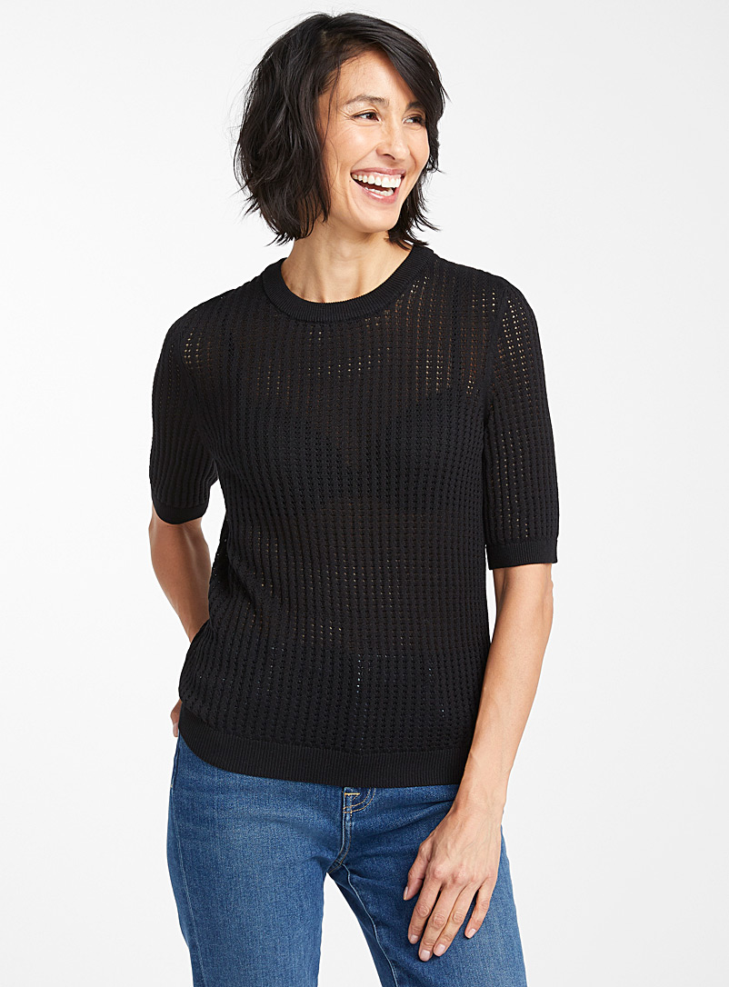 Contemporaine Black Openwork stripe sweater for women