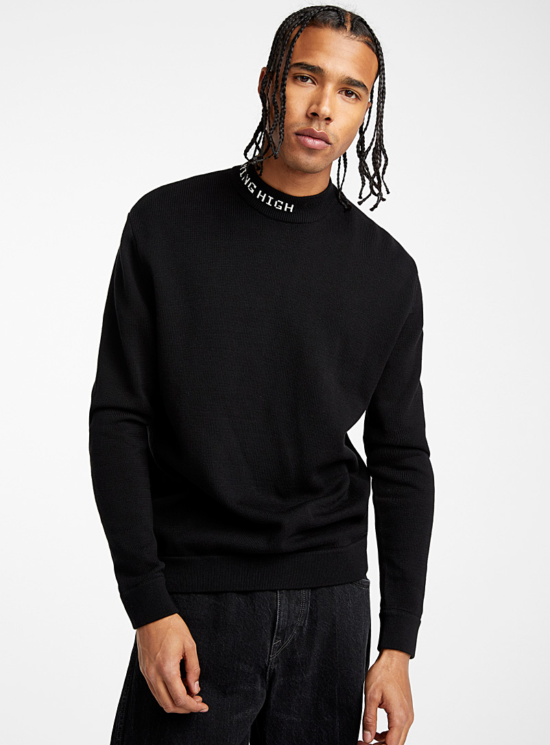 Djab Black Typo mock-neck sweater for men