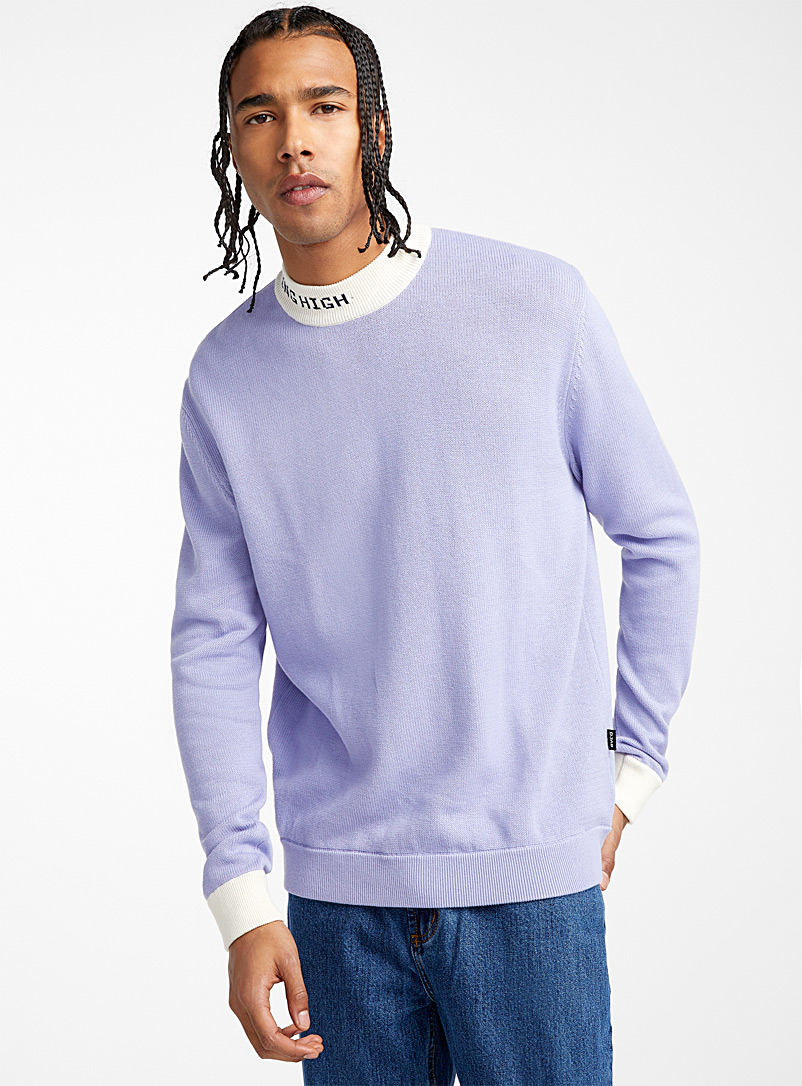 Djab Slate Blue Typo mock-neck sweater for men
