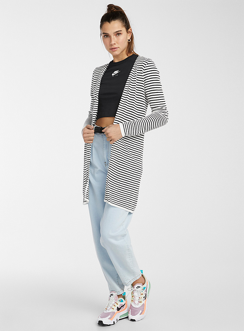 Textured stripe cardigan - Cardigans - Black and White