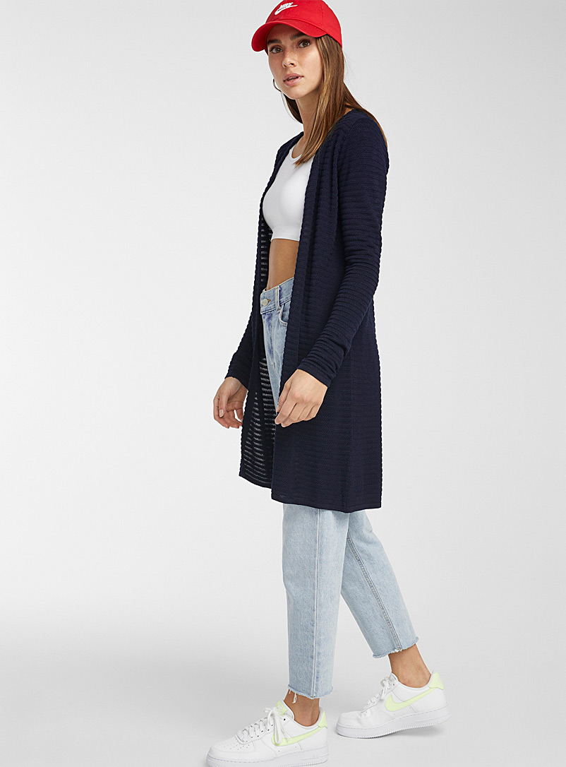 Textured stripe cardigan - Cardigans - Marine Blue