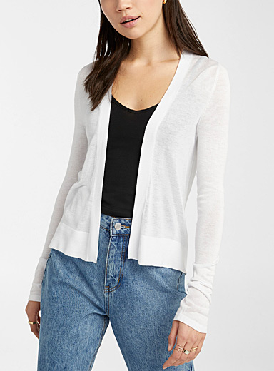 Cropped finely knit cardigan
