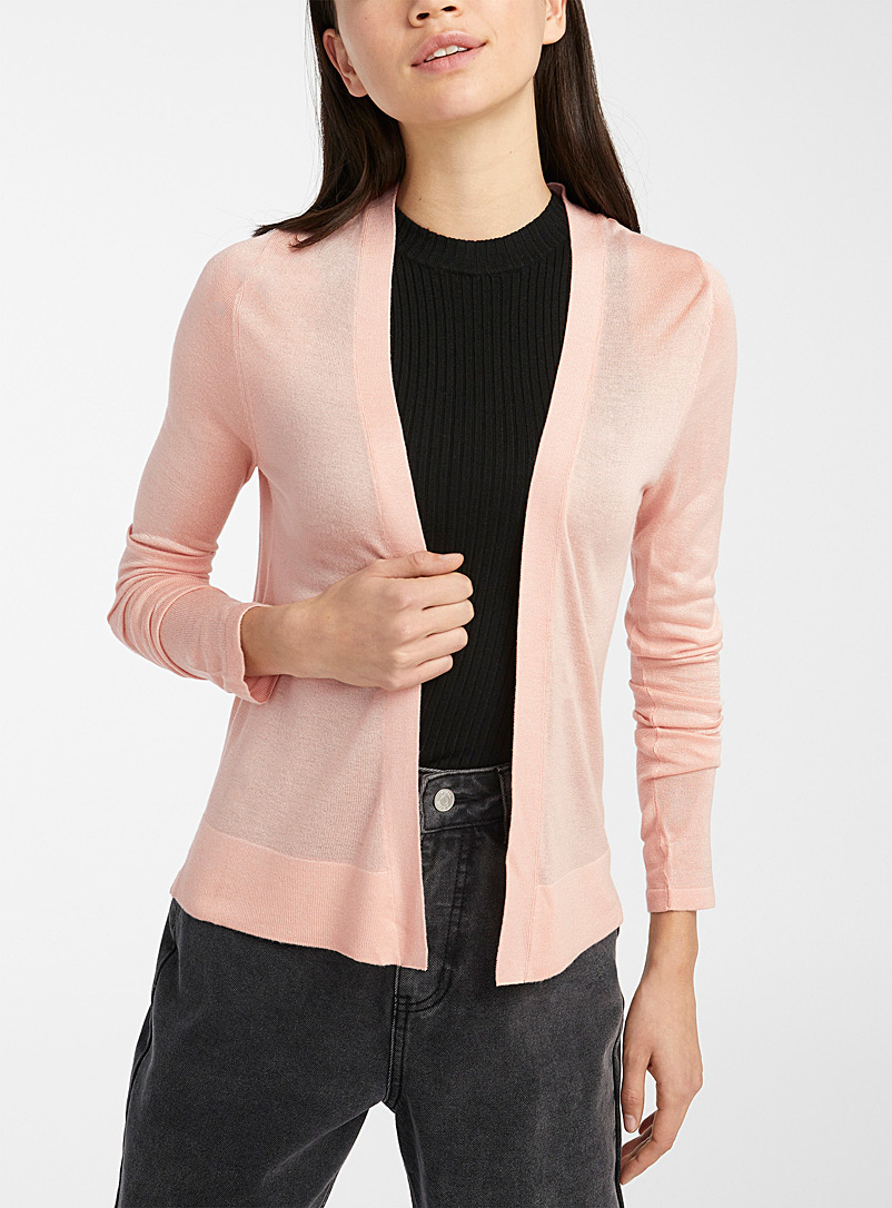 Twik Dusky Pink Cropped finely knit cardigan for women
