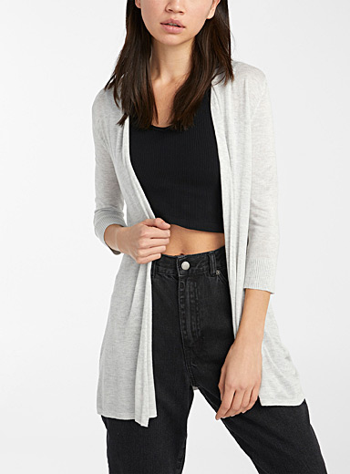 Le cardigan fin tricot manches 3/4