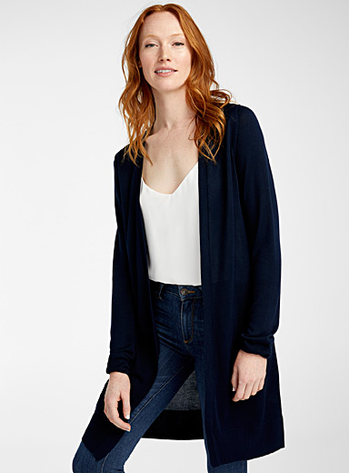 Minimalist long fluid cardigan