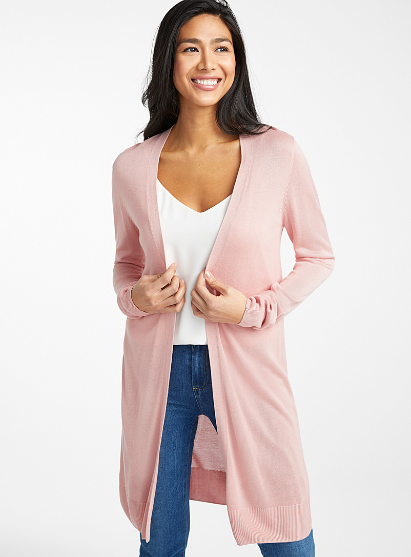 Contemporaine Pink Minimalist long fluid cardigan for women