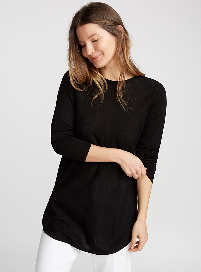 Rounded hem fluid knit tunic - Sweaters - Black