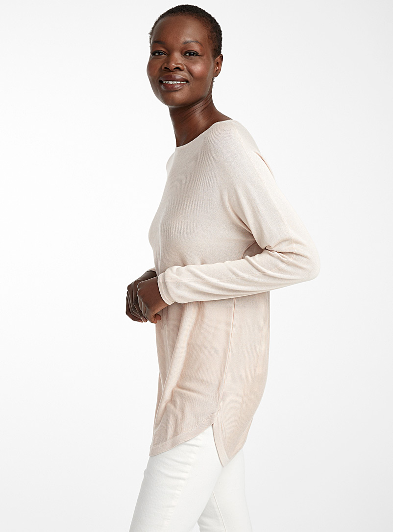 Contemporaine Sand Rounded hem fluid knit tunic for women