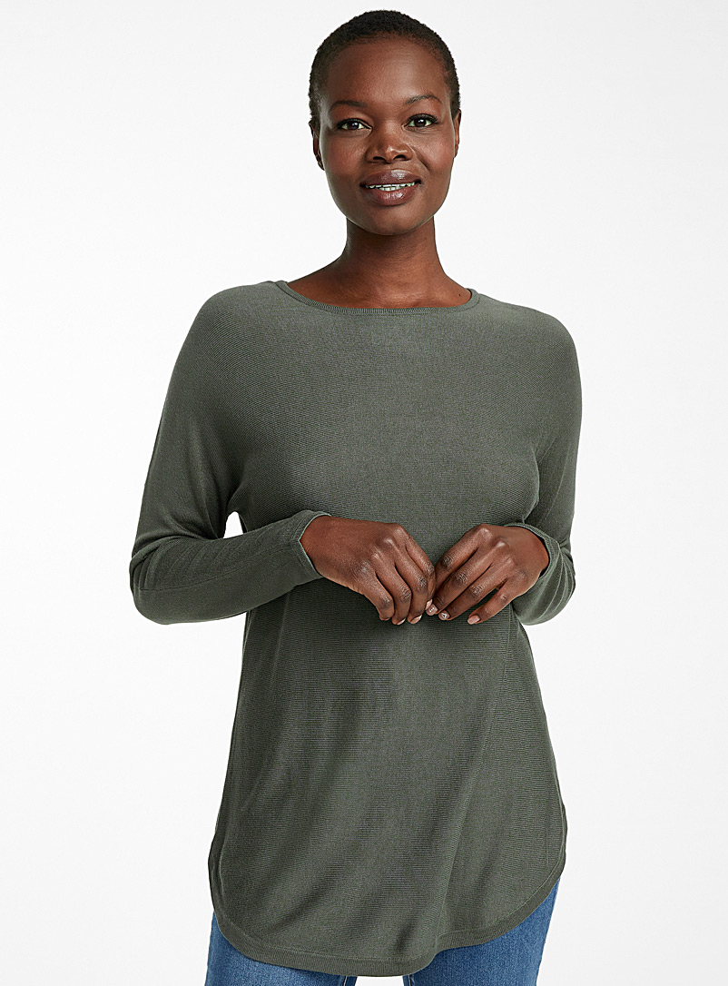 Rounded hem fluid knit tunic - Sweaters - Mossy Green