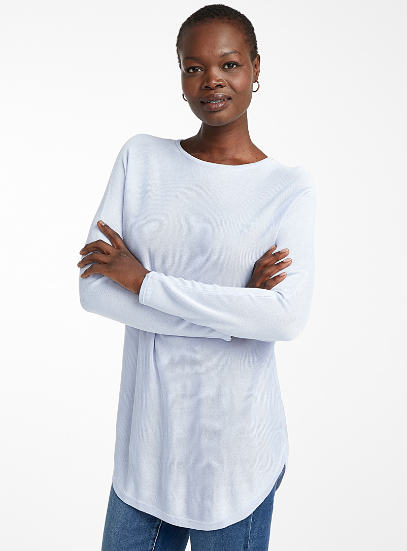 Contemporaine Baby Blue Rounded hem fluid knit tunic for women