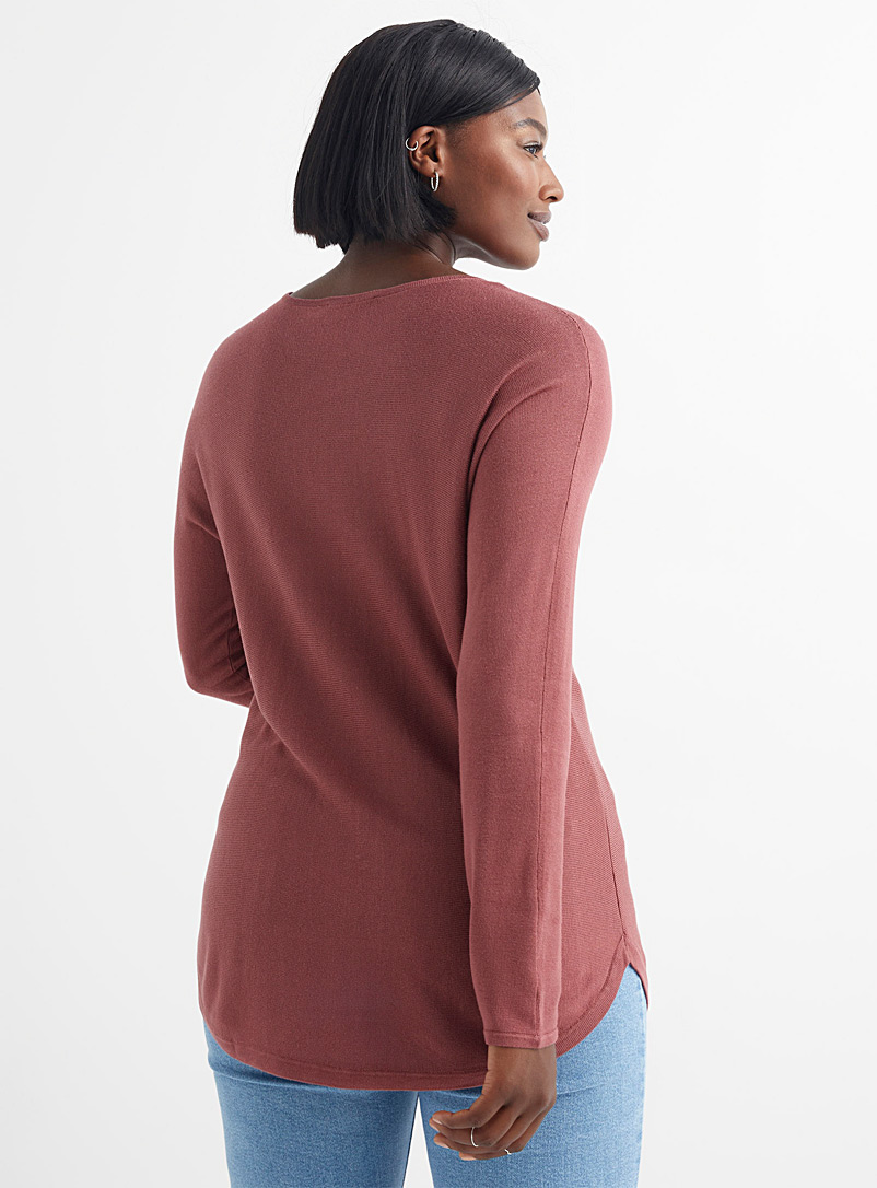 Contemporaine Cherry Red Rounded hem fluid knit tunic for women