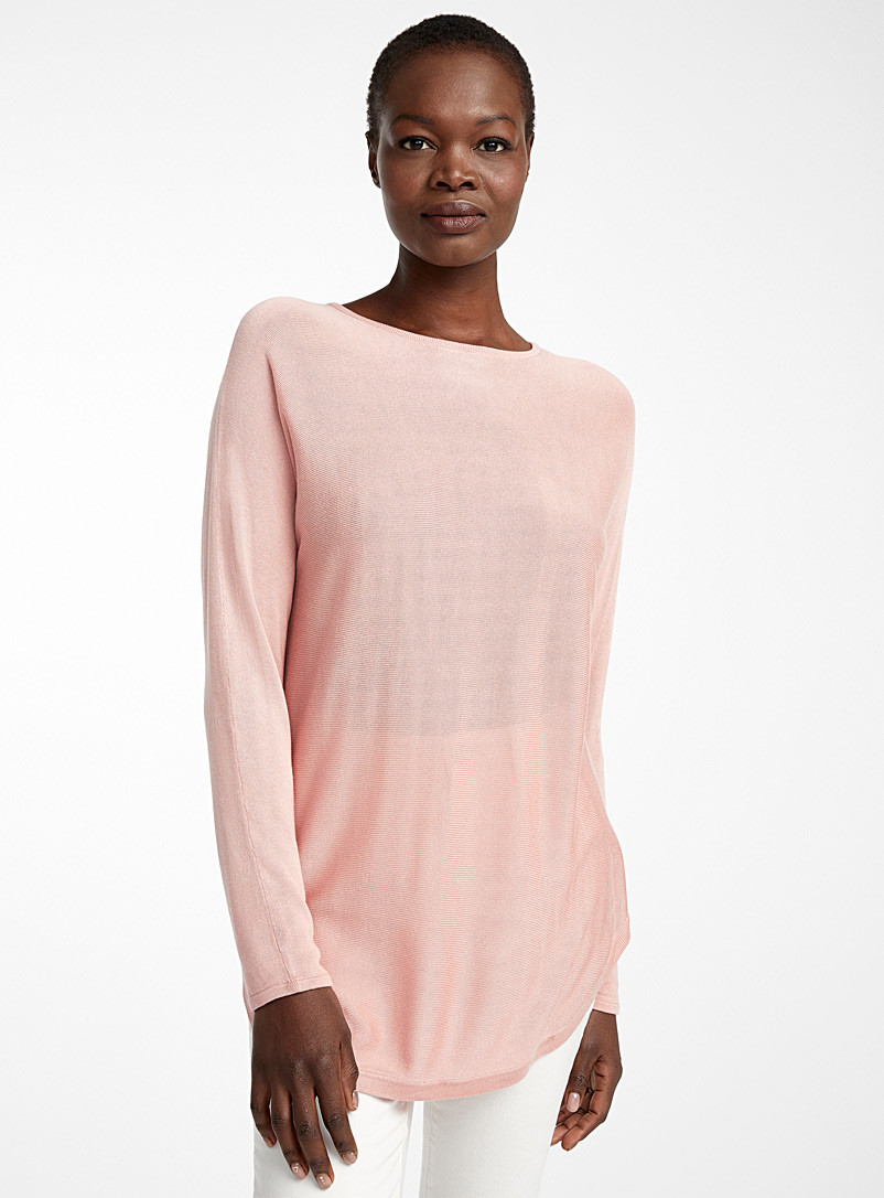 Rounded hem fluid knit tunic - Sweaters - Pink