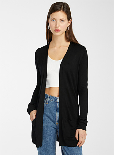 Le cardigan ouvert fin tricot