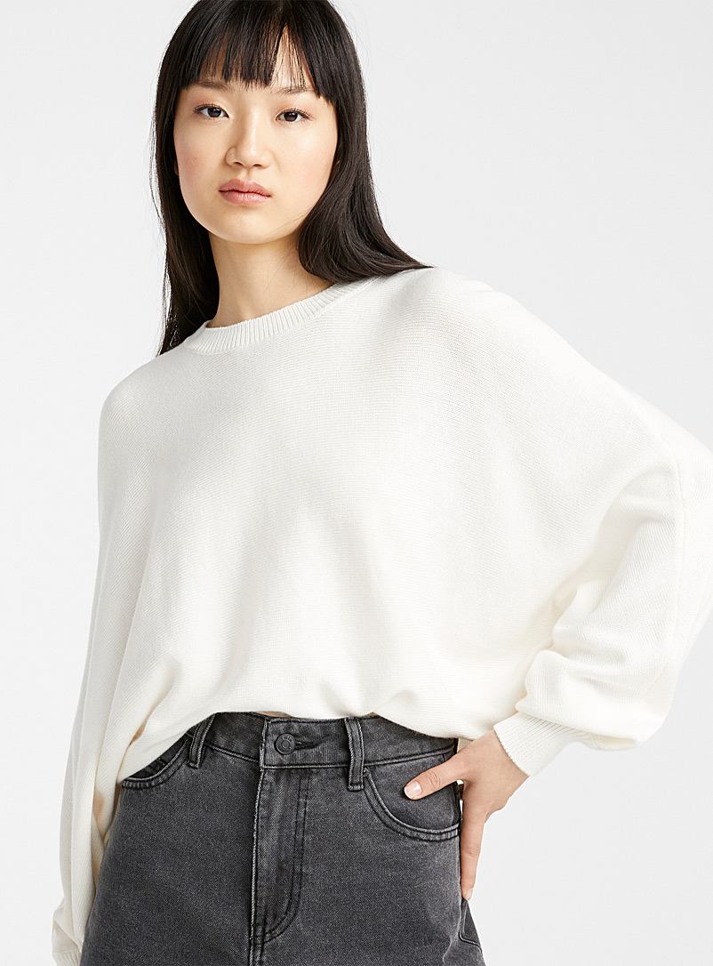 Twik Ivory White Cropped batwing sweater for women