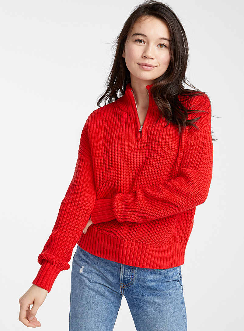 Twik Red Ribbed half-zip mock-neck sweater for women