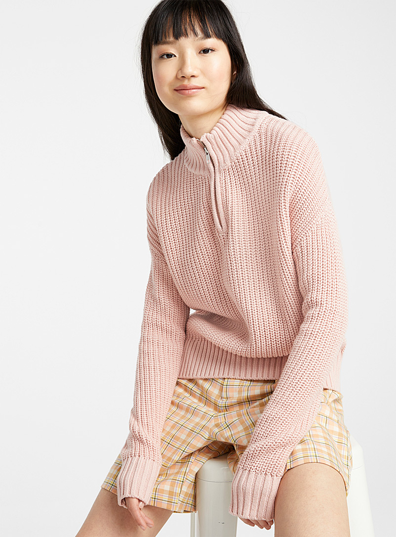 Twik Light pink  Ribbed half-zip mock-neck sweater for women
