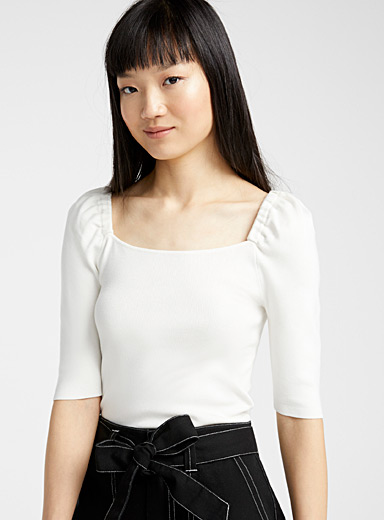 Twik Ivory White Puff shoulder square-neck sweater for women