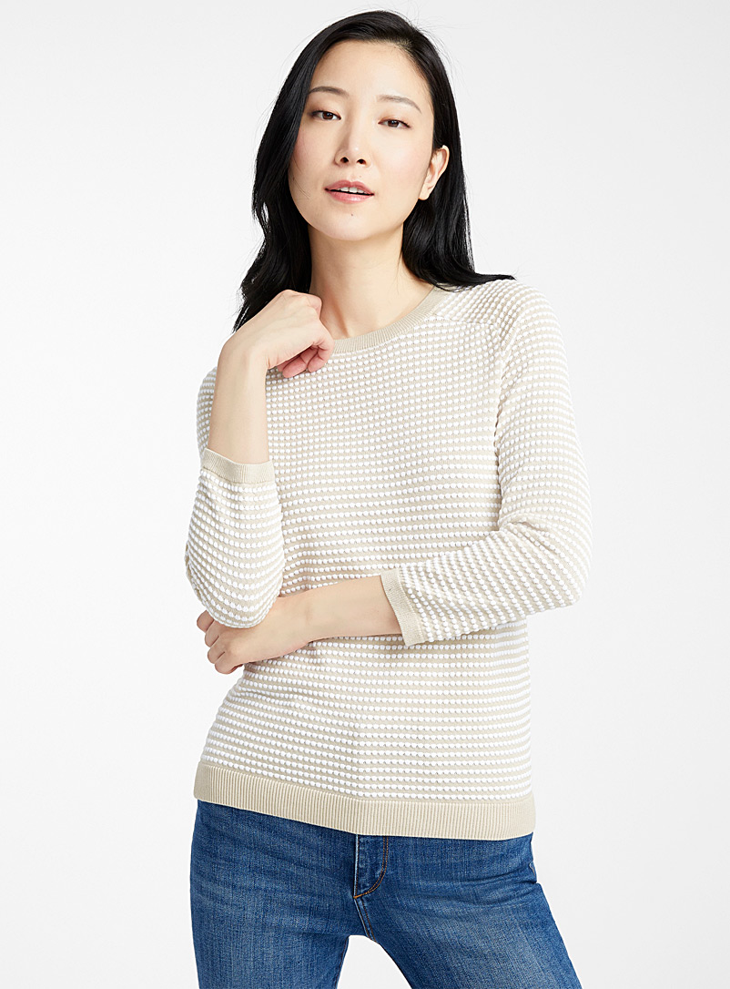 Contemporaine Sand Embossed-squares sweater for women